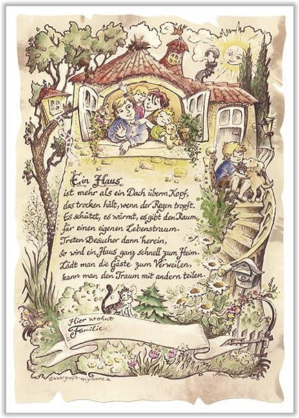 Die Staffelei Geschenk Bild Zur Hauseinweihung Zeichnung Mit Lustigem Gedicht Einzug Ins Neue Heim A4 Bild Präsent Zum Jubiläum Personalisiert