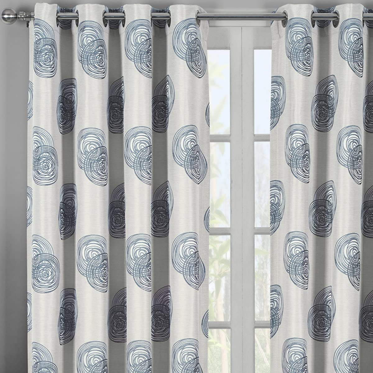 Set of 2 Panels 108 Wx120 L Lafayette Gray Jacquard Grommet Window Curtain Panels, 54-inch 120-Inch Each Panel. Package Contains Set of 2 Panels 120 inch Long