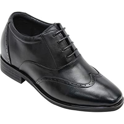 CALTO Men's Invisible Height Increasing Elevator Shoes - Black Leather Lace-up Brogue Wing-tip Oxfords - 3.2 Inches Taller - G51123 | Oxfords