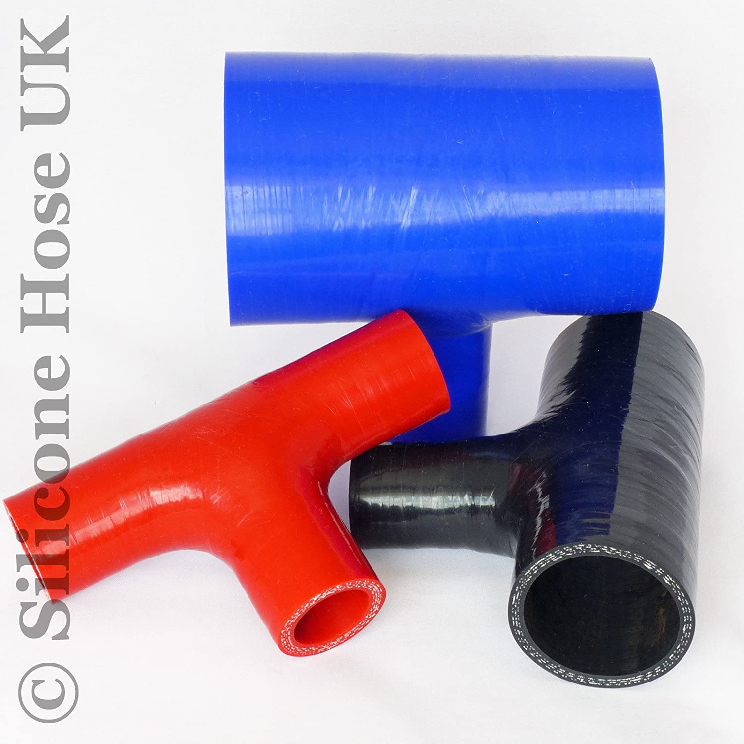 Black Reinforced Inlet Connector ID 25mm Silicone T-Piece Dump Valve Hose Pipe
