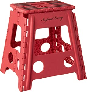 """Inspired Living Step Heavy Duty folding-stools, 16"""" High, RED"""