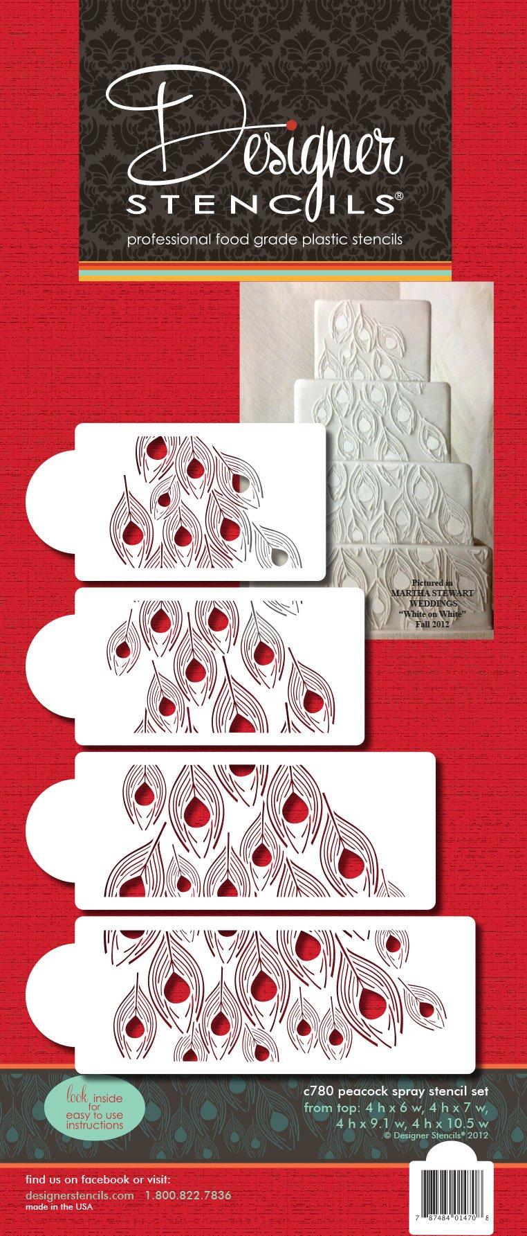 Designer Stencils C780 Peacock Spray Stencil Set, Beige/semi-transparent by Designer Stencils (Image #2)
