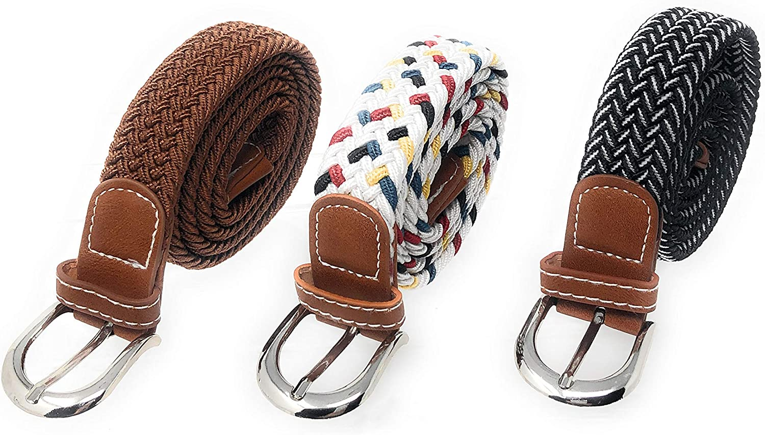 Rusoji 3 Pcs Kids Boys Girls Easy Stretch Elastic-Web Braided Woven Belt with Buckle Set