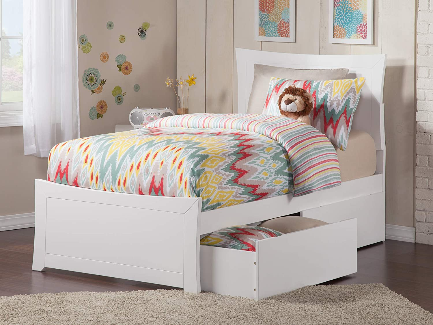 Atlantic Furniture AR9026112 Metro Platform Bed with Matching Foot Board and 2 Urban Bed Drawers, Twin, White