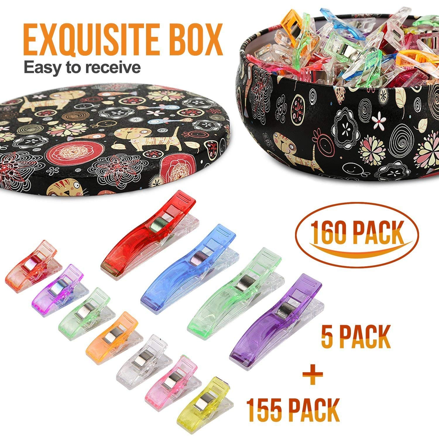 Sewing clips, Quilting Supplies Pack of 160 Multipurpose Quilting Clips with Premium Storage Tin Box Assorted Colors EAU AN TONG EA01