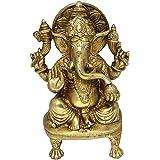 Hindu-Gott-Skulpturen, die Statue von Ganesha religiöse Messing Figur sitzend