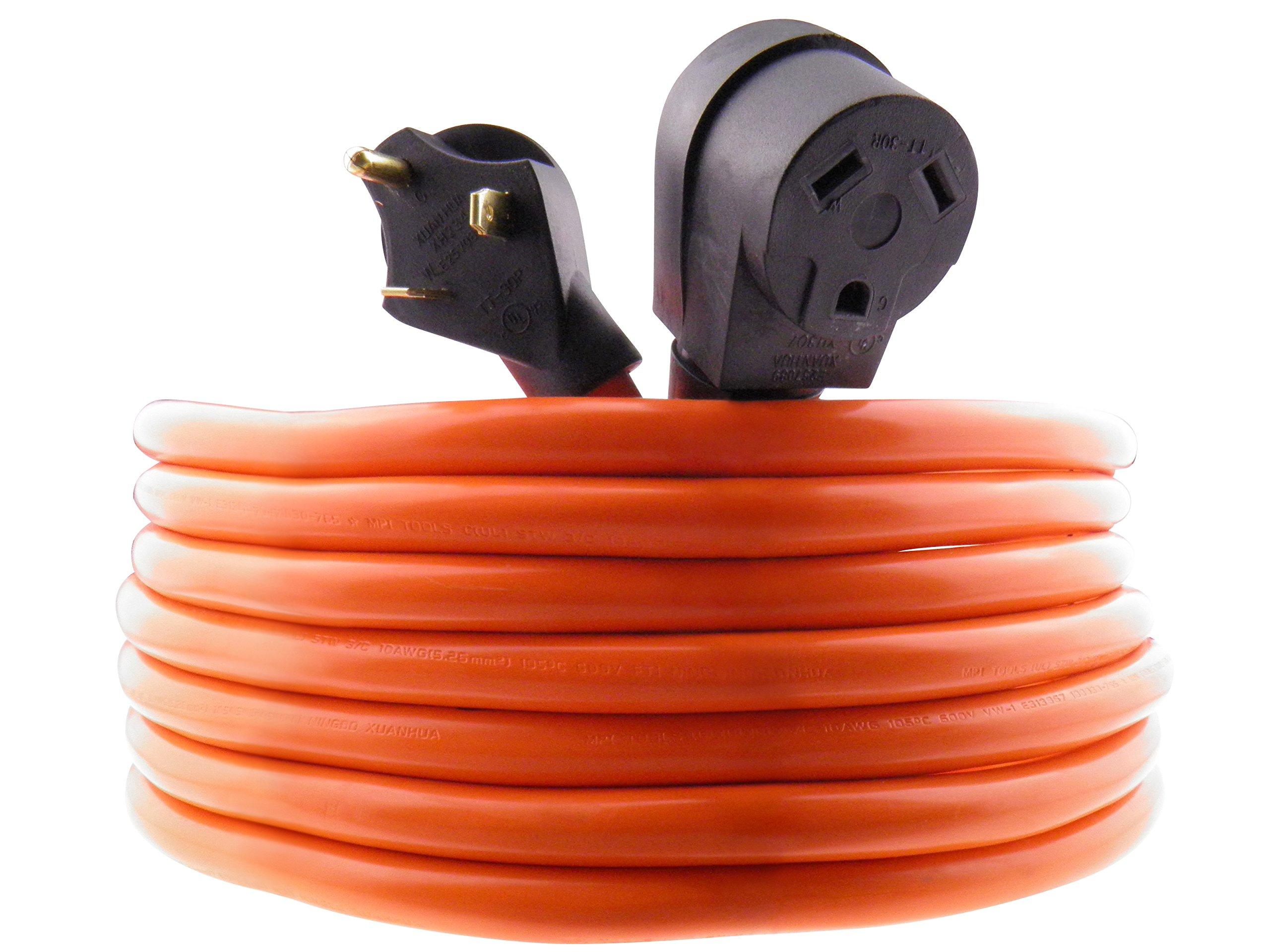 MPI Tools TT-30 RV Power Cord 40 feet 3 Wire 10 Gauge 125volt 30 Amp 7500 watts (40ft)