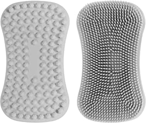 TOPHOME Cleaning Brush Multipurpose Scrubber for Kitchen, Silicone Sponge, Brush Pot Pan Dish Bowl, Wash Fruit and Vegetable, Pot Holder (Grey,1pc)