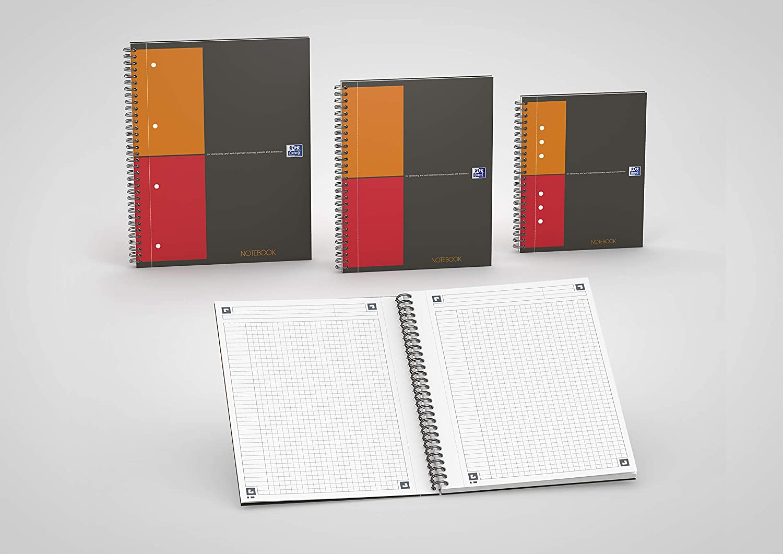 Oxford Meetingbook 100103453 Meetingbook International 5er Pack A5 liniert 80 Blatt in 1 Collegeblock und Gummizugmappe Orange