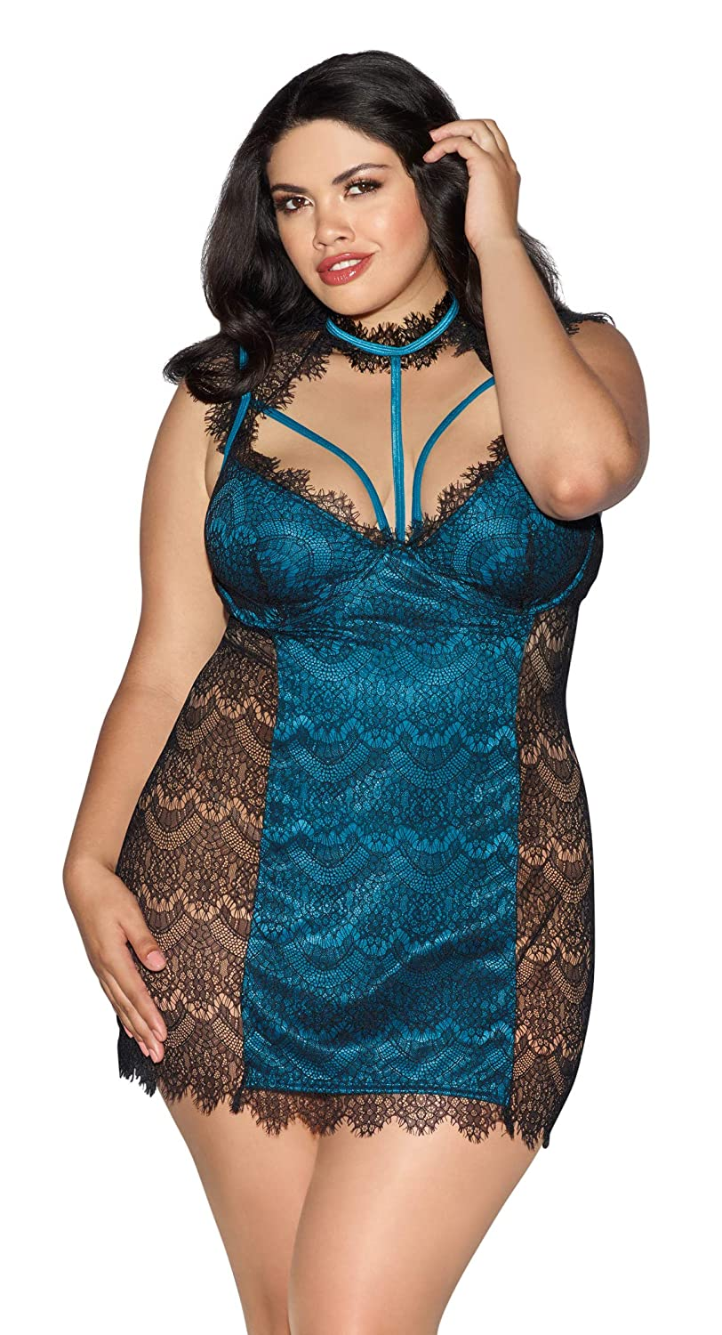 Dreamgirl Women's Plus Size Venice Lace and Strappy Teal Satin Chemise 11005X-BKTL-$P