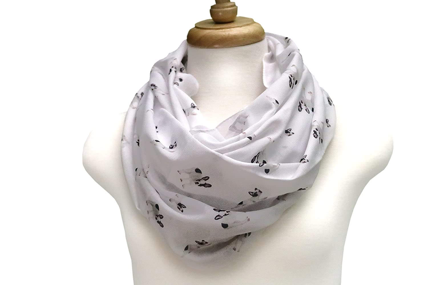 40% OFF Handmade French Bulldog Infinity scarf by Di Capanni (Colored on White)