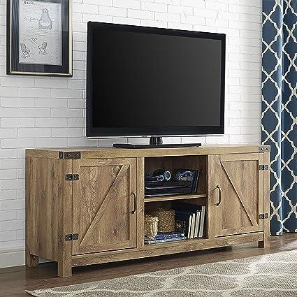 Amazon Com 58 Barn Door Tv Stand With Side Doors Barnwood