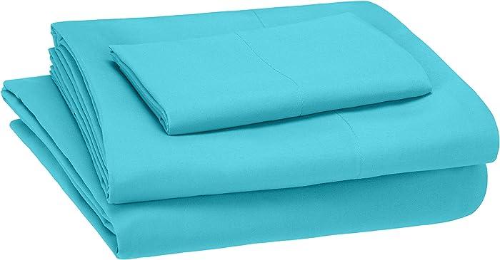 AmazonBasics Kid's Sheet Set - Soft, Easy-Wash Microfiber - Twin, Bright Aqua