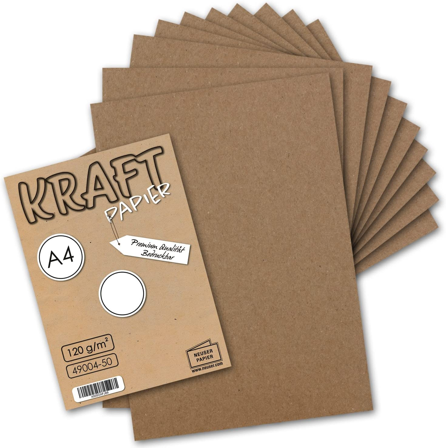 Foglio Lettera Biologico 100/% Ambientale di Gustav Neuser 50 Fogli di Carta Kraft I dellAnnata A4 120 g m Natura Marrone riciclati