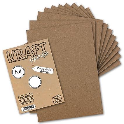 50 Blatt I Vintage Kraftpapier Din A4 120 Gm² Natur Braunes