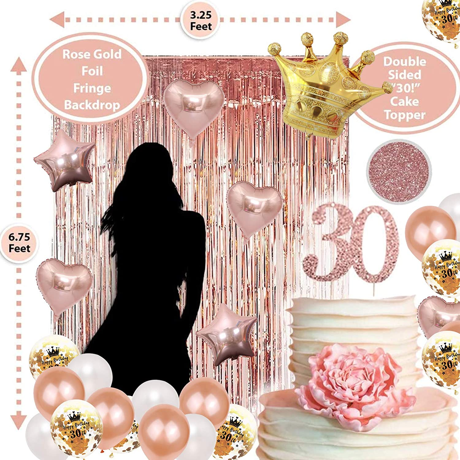 Crown Hat,Rose Gold Foil Fringe Curtain Hanging Swirls 30th Birthday Decorations Rose Gold,30th Birthday Party Supplies Boy Girl 30th Balloons Numbers,Rose Gold Balloons