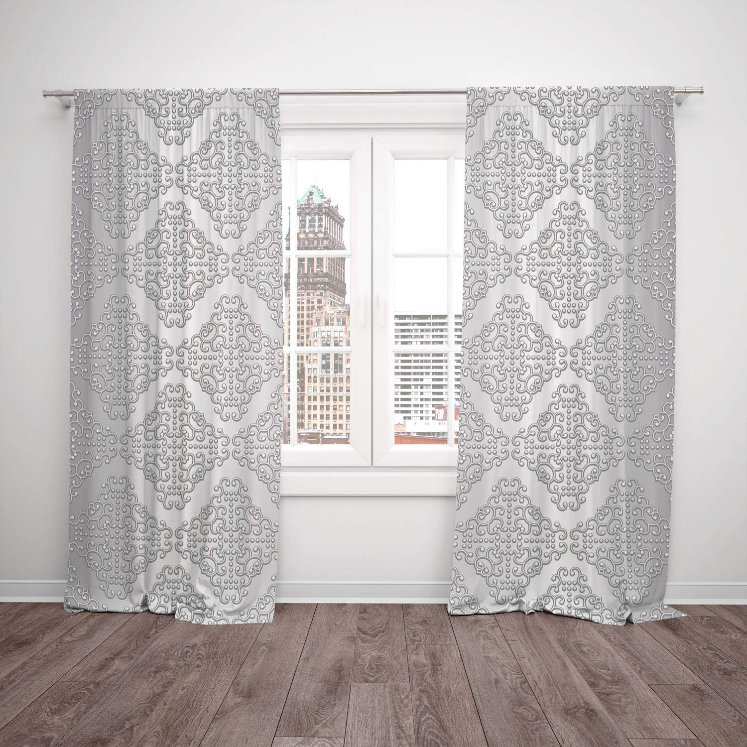 2 Panel Set Window Drapes Kitchen Curtains,Silver Damask Inspired Floral Motifs in Symmetrical Old Fashioned Design Swirls and Curls Decorative Silver White,for Bedroom Living Room Dorm Kitchen Cafe