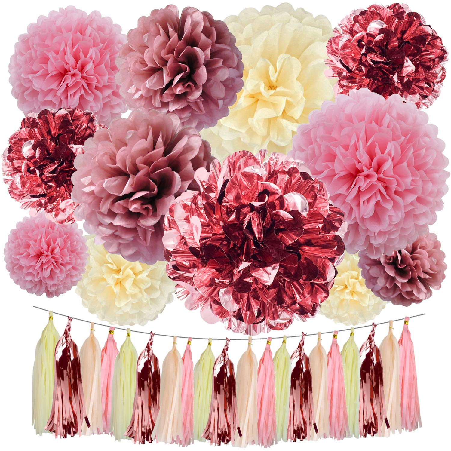 Cuterui Rose Gold Party Decorations 32 Pieces Metallic Rose Gold Foil Tissue Paper Pom Poms Paper Flowers and Tissue Paper Tassels for Baby Shower Decorations for Girl Birthday Party Decorations by Cuterui