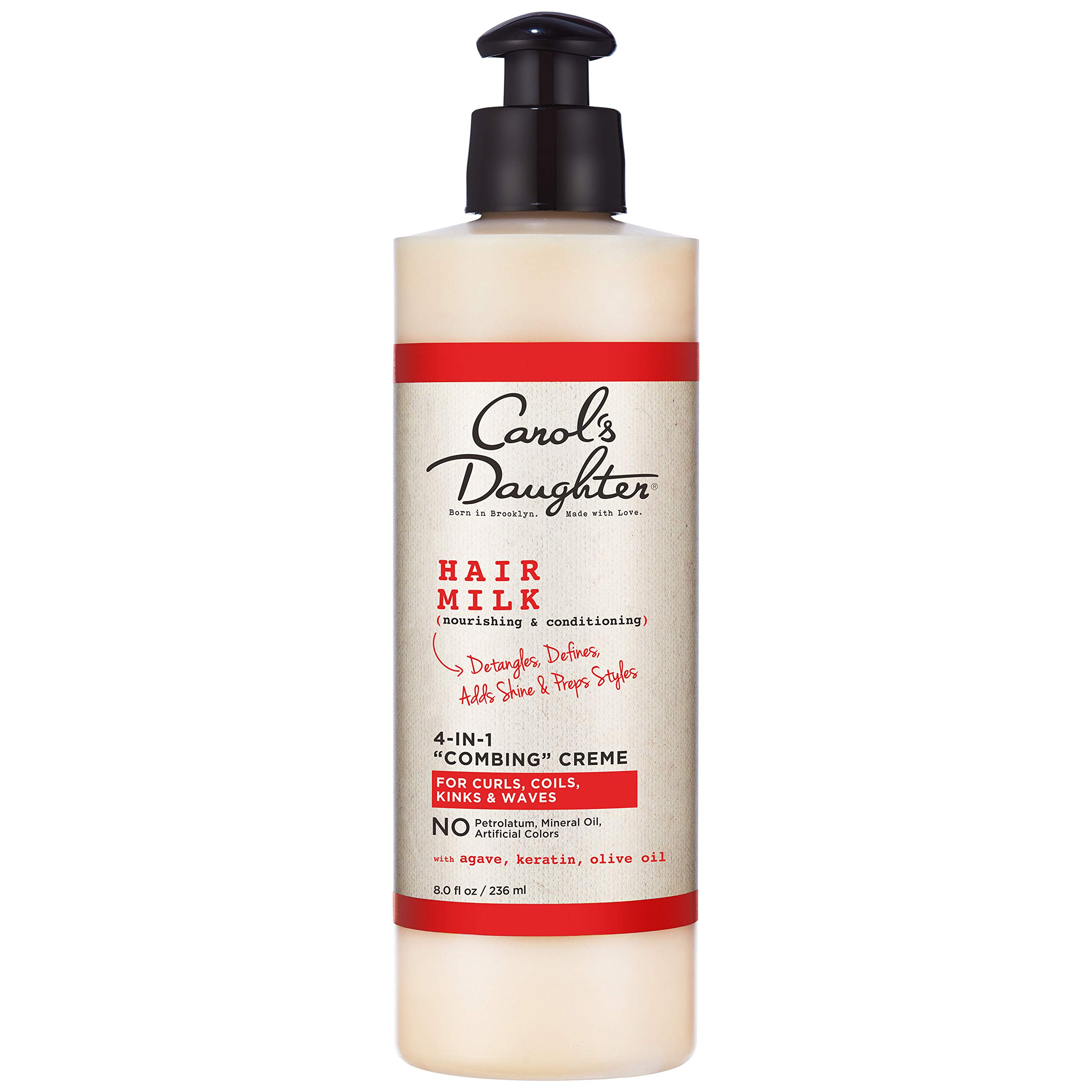 Carol's Daughter Hair Milk 4 in 1 Combing Creme for Curls, Coils and Waves, with Agave and Olive Oil, Hair Detangler, Curl Cream, 8 fl oz