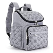 Diaper Bag Backpack with Baby Stroller Straps by HYBLOM, Stylish Travel Designer and Organizer for Women & Men, 12 Pockets, Grey