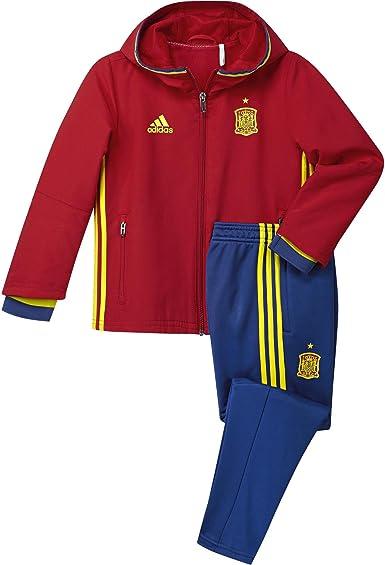 adidas Federación Española de fútbol Pre Suit I 2016 - Traje de chándal para niño, Color Rojo/Amarillo/Azul, Talla 92: Amazon.es: Zapatos y complementos