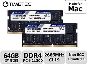 Timetec Hynix IC 64GB KIT(2x32GB) Compatible for Apple DDR4 2666MHz for Mid 2020 iMac (20,1/20,2) / Mid 2019 iMac (19,1) 27-inch w/Retina 5K Display, Late 2018 Mac Mini (8,1) PC4-21300/PC4-21333 RAM