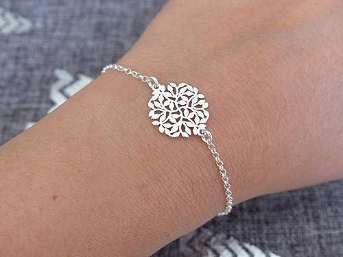 bracelet argent rosace