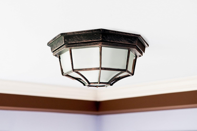 Trans Globe Lighting 40582 RT Outdoor Benkert 5 Flushmount Lantern 5-Inch Rust