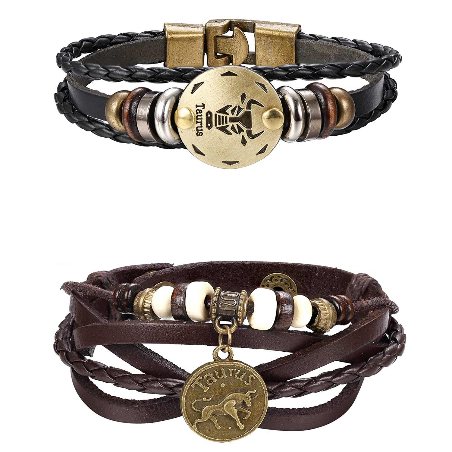 LOYALLOOK Punk Alloy Leather Bracelet for Men Constellation Braided Rope Bracelet Bangle Wristband Zodiac Sign and Zodiac Charm 2PCS DGB0005-1