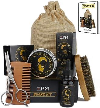 Onirev Kit Completo Cuidado y Mantenimiento de Barba para Hombres, Bálsamo, Aceite para barba, Cepillo de Pelo de Jabalí, Tijeras para Bigote, Peine y Estuche Caja de Regalo para su Padre, Hombre.: