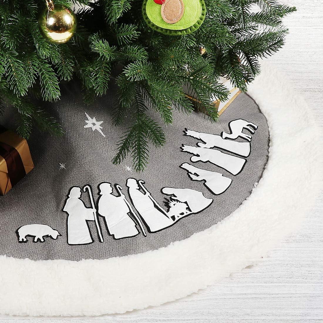 EDLDECCO Christmas Tree Skirt 48 Inches Grey Burlap Nativity Scene Holy Family Applique Faux Fur Trim Large X'Mas Holiday Party Decor Ornaments (Grey)