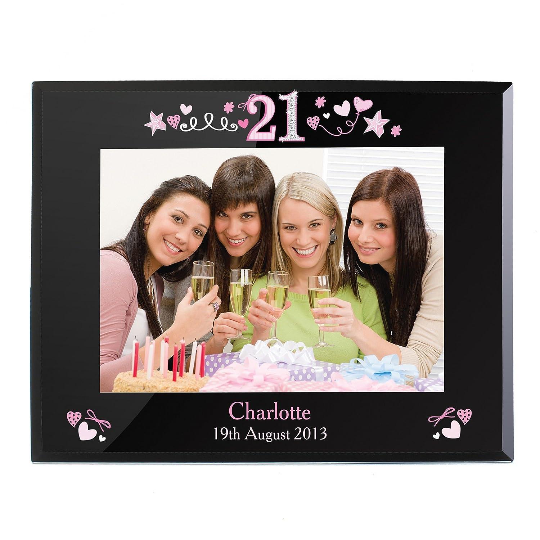 Personalisiert, 5 x 7 cm, schwarz Glas-Bilderrahmen zum 21 ...