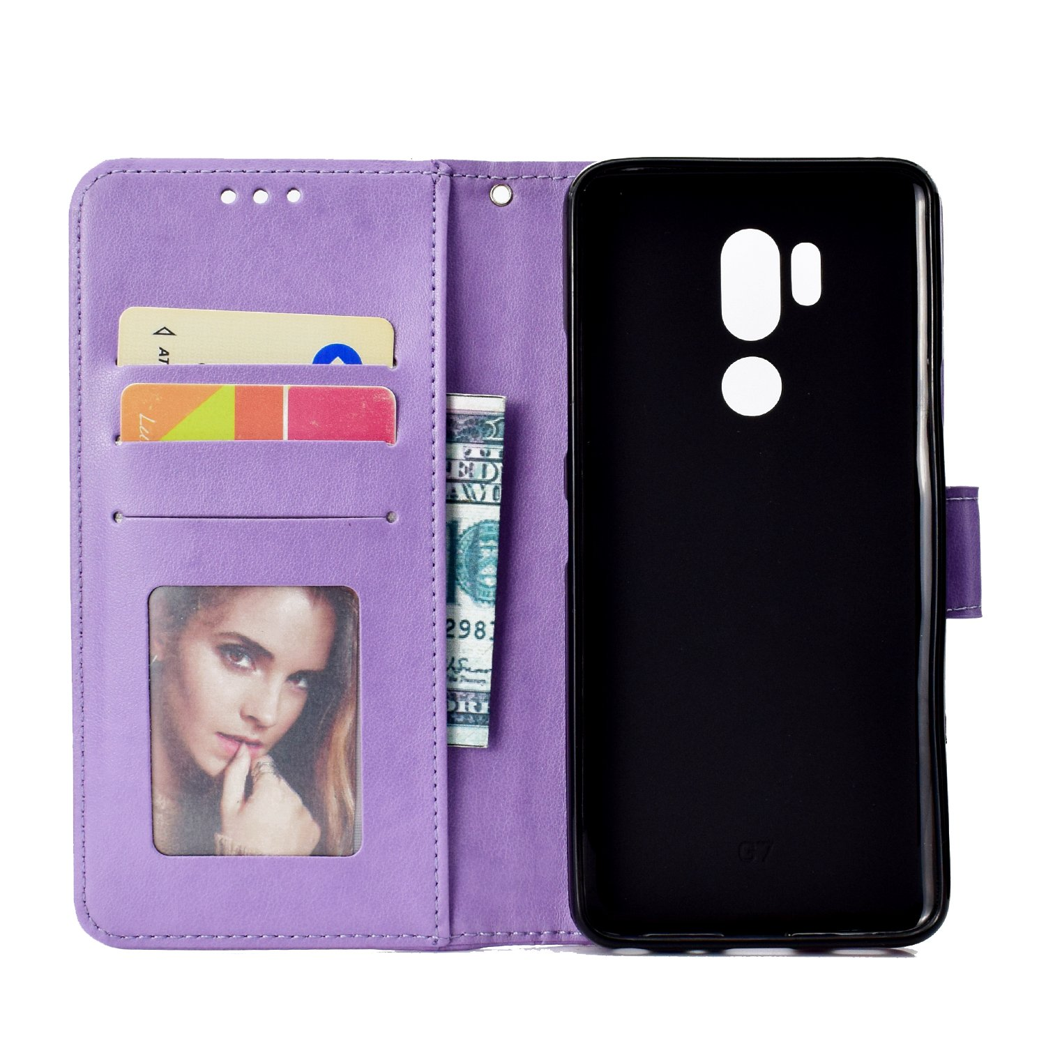 IKASEFU Emboss Floral Totem Pu Leather Wallet Strap Case Card Slots Shockproof Magnetic Kickstand Folio Flip Book Cover Protective Case Compatible with LG G7 ThinQ,brown