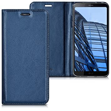 kwmobile Funda para LG G6 - Carcasa para móvil de [Cuero sintético] - Case [Plegable] en [Azul Oscuro]