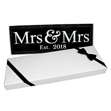 Craftwize Mrs & Mrs Wooden Lesbian Same Sex Wedding Sign (Large, 2018)