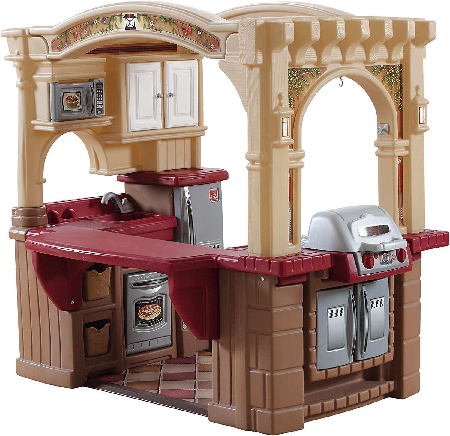 Amazon Com Step2 Grand Walk In Kitchen Grill Large Kids Kitchen Playset Toy Play Kitchen With 103 Pc Play Kitchen Accessories Set Included Brown Tan Maroon 821400 Toys Games