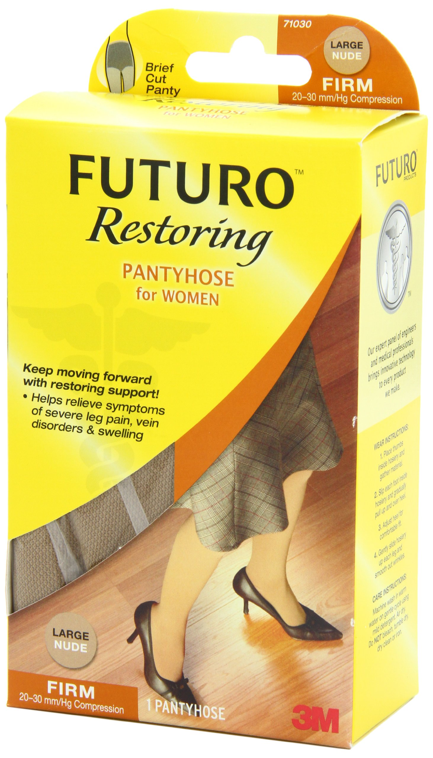 Futuro Restoring Pantyhose for Women, Helps Improve Circulation for Tired Legs, Eases Symptoms of Moderate-to-Severe Varicose Veins, Brief Cut, Large, Nude, Firm Compression by Futuro (Image #6)