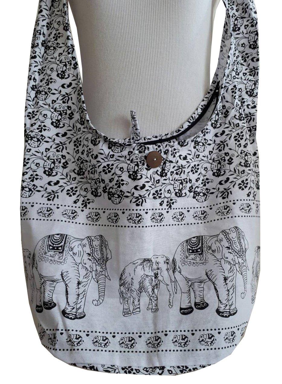 PAPAYA SHOP Elephant Hippie Hobo Handbags Crossbody Messenger Bags Bohemian Shoulder Purses (17'', White)