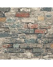 "RoomMates RMK11080WP Brick Alley Peel and Stick Wallpaper, Teal, 20.5"" x 16.5'"