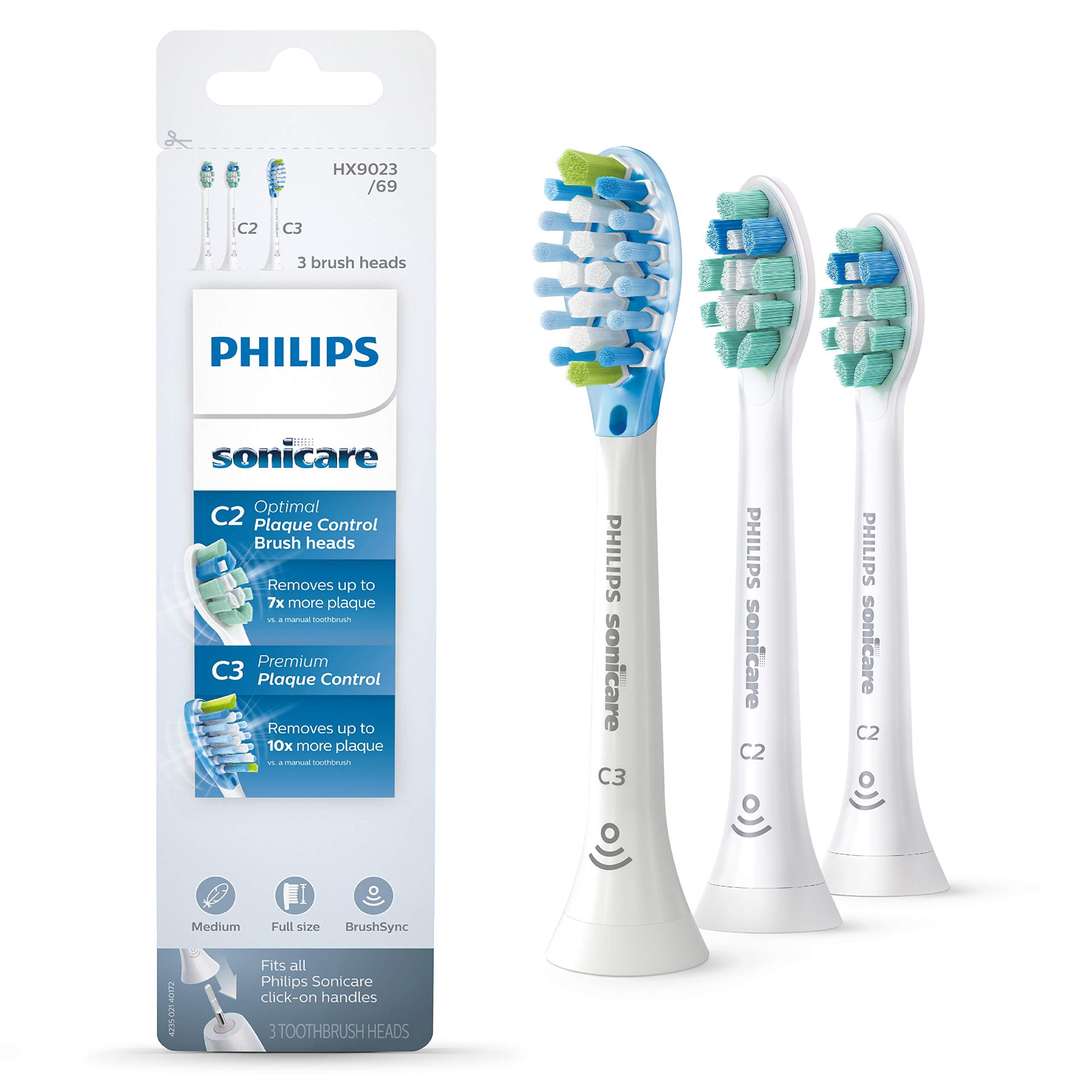 Genuine Philips Sonicare toothbrush head variety pack - C3 Premium Plaque Control & C2 Optimal Plaque Control, HX9023/69, 3-pk, white