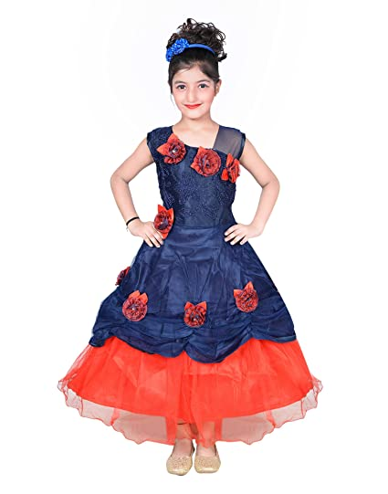 f80e1d8c015 Roop Trading Co Girl s Net Embroidered Dress (RtbeautiBlueredfr Blue and  Red 6-7 Years)