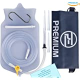 Premium Enema™ Clear SILICONE ENEMA BAG KIT with Precision Stopcock Tap, One-Way Valve, Long Silicone Hose, 3 Insertion Tips & Storage Bag - BPA Free and Phthalates Free - Satisfaction Guaranteed