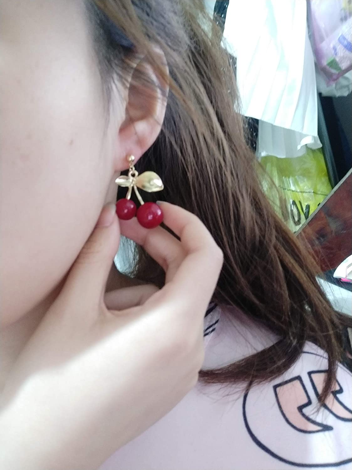 YINLIN Sweet Vintage Red Big Cherry Earrings Fruit with Charm Gold Leaf Stud Earring