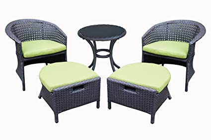 ORNO TTOBE 5 Piece Outdoor Wicker Patio Furniture Conversation Sets With  Sunbrella Cushion 2 Chairs