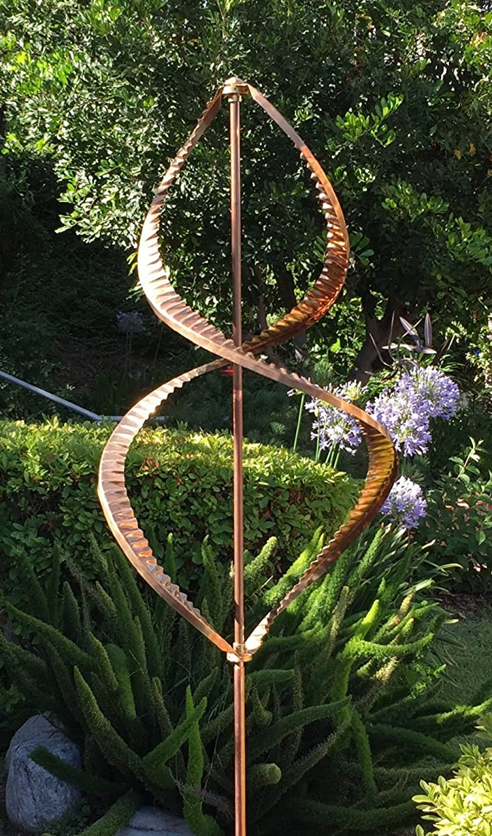 Stanwood Wind Sculpture Kinetic Dual Helix Spinner, One Size, Copper