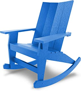 product image for Hatteras Hammocks Blue Adirondack Rocker, Eco-Friendly Durawood, All Weather Resistance, Fit 'N' Finish Handcrafted in The USA