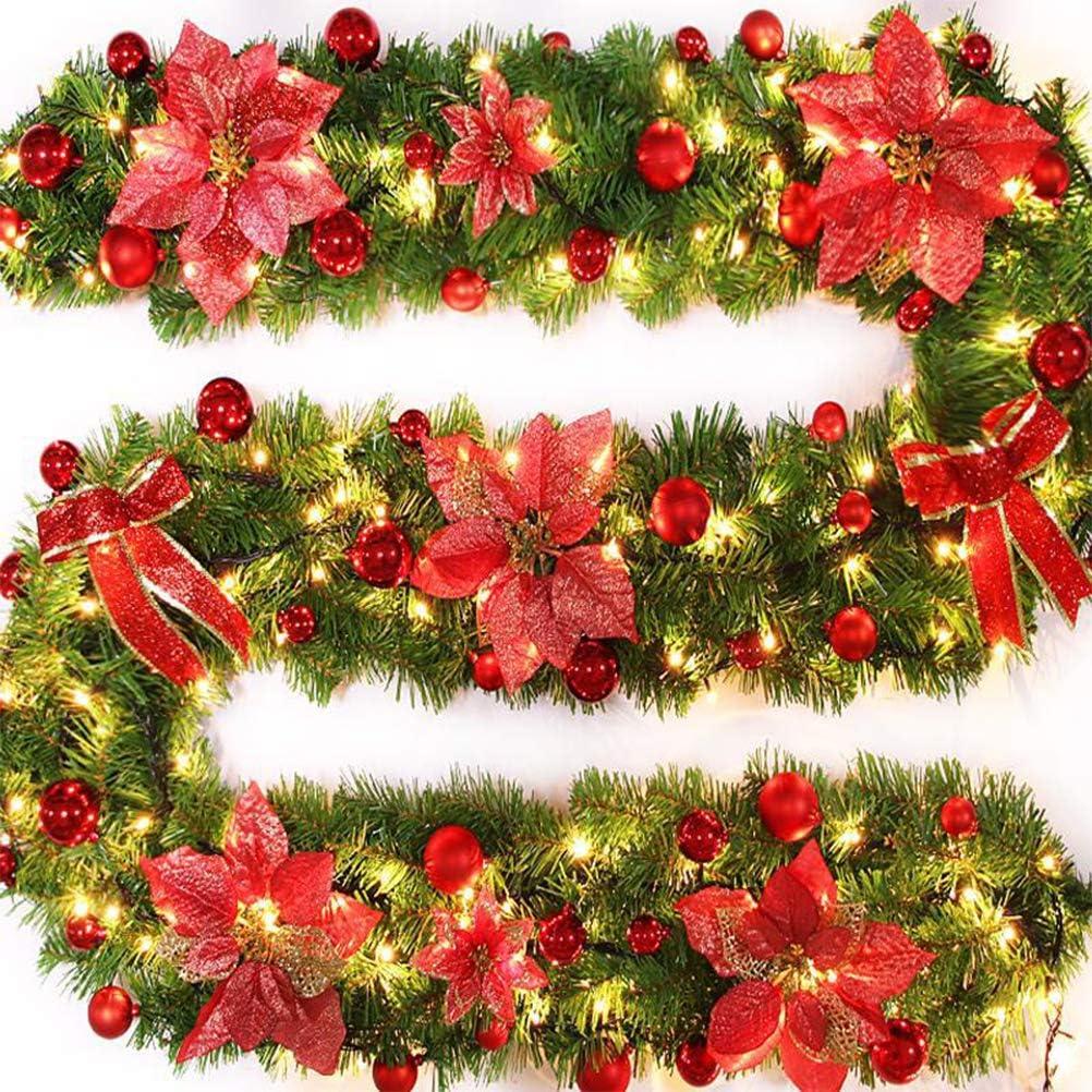 WINBST Guirnalda de Navidad Rama de Abeto Guirnalda decoración Escalera Exterior Decoraciones navideñas Navidad, Adviento, como luz Ambiental, Guirnalda de Puerta: Amazon.es: Hogar