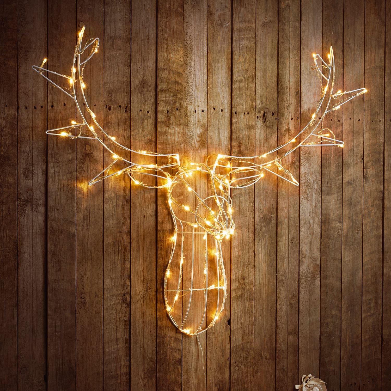 Sentik®, illuminazione di Natale a forma di testa di cervo, con telaio di metallo e 80luci LED, per interni ed esterni Warm White Sentik®