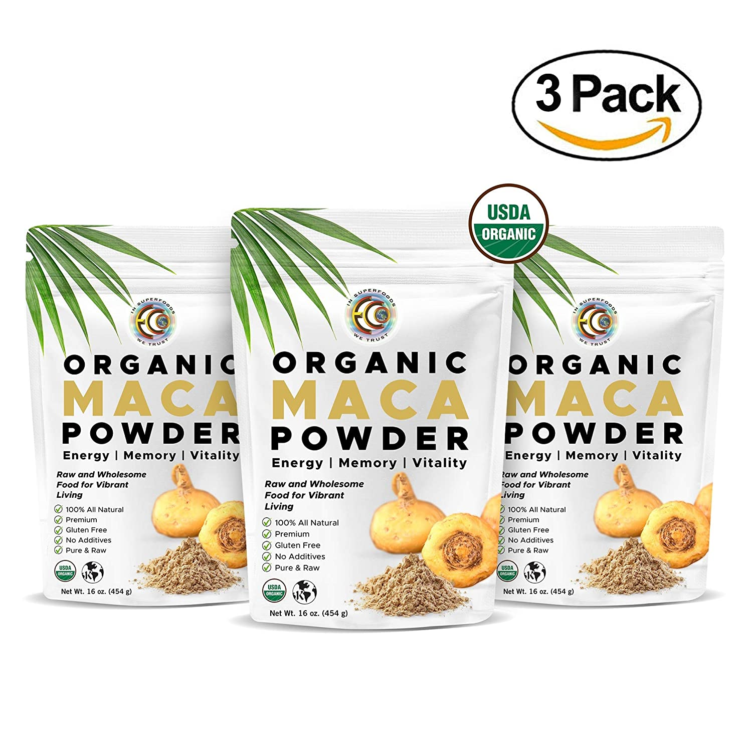 Earth Circle Organics – Organic Maca Root Powder, Natural Superfood, Helps with Energy, Hormone, Weight and Women s Fertility – USDA Vegan Certified – 1lb 3 Pack