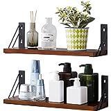 EKNITEY Wooden Floating Shelves-Wall Mounted Storage Shelf Solid Wood Rustic Display Shelving for Bedroom, Bathroom, Kitchen,